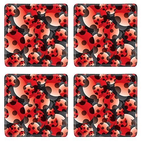 Lady Coaster (Liili Natural Rubber Square Coasters IMAGE ID: 21983704 Ladybug seamless pattern also can as wallpaper)