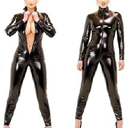 XSQR Mono de Mujer Sexy Negro para Mujer, de PVC, de Licra ...