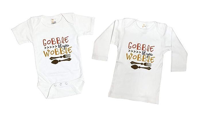 9b62515c54 Amazon.com: Thanksgiving Gobble Till You Wobble Funny Turkey Toddler Kids  Tee Shirt or Baby Bodysuit: Handmade