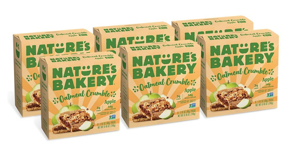 Nature's Bakery Oatmeal Crumble Bars, Apple, Real Fruit, Vegan, Non-GMO, Breakfast bar, 6 boxes with 6 bars (36 bars)