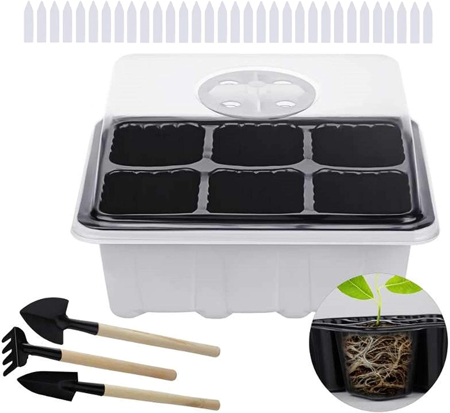 ZeeDix 12 Set Seedling Trays Seed Starter Kit- 72 Cells Plant Grow Kit, Garden Seed Propagator Premium Seedling Dome and Tray with 5 Inch Vented Humidity Dome(6 Cells Per Tray)