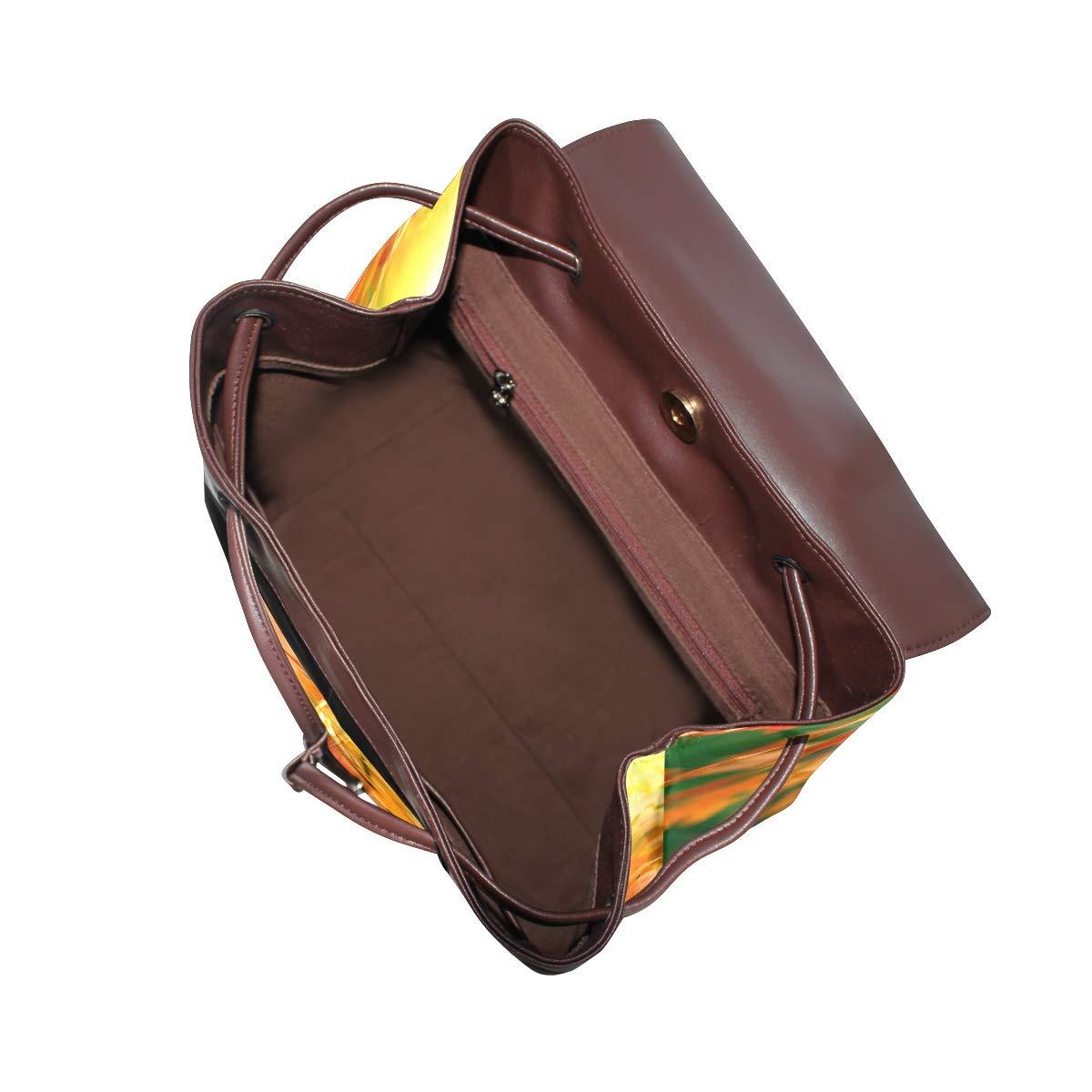 KEAKIA Women PU Leather Autumn Leaves Backpack Purse Travel School Shoulder Bag Casual Daypack