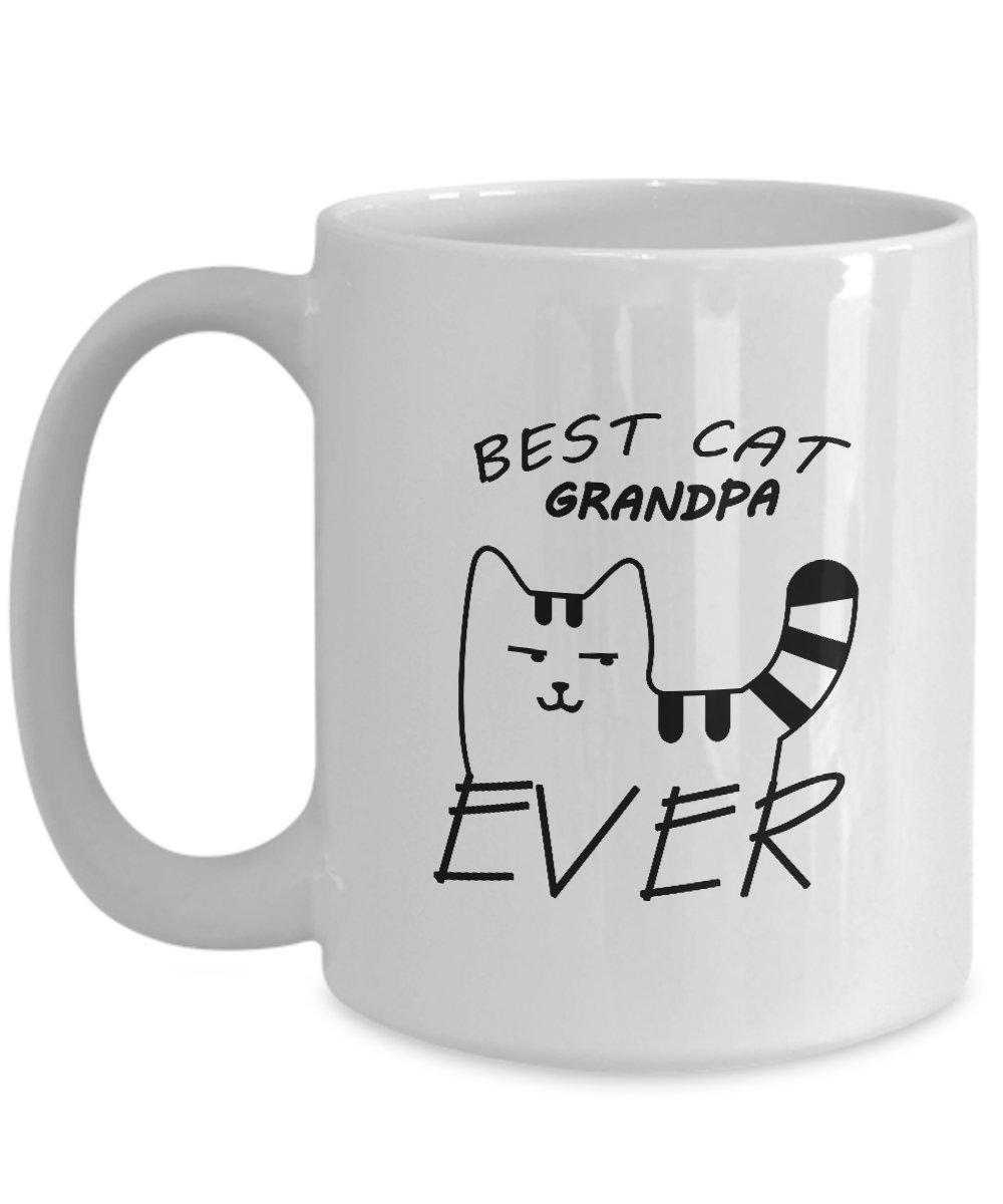 Best Grandpa Everコーヒーマグ – Best Cat Grandpa Ever – ギフトおじいちゃんからGreat孫マグ – Cat関連Gifts – 11オンスセラミックコーヒーマグ 15oz GB-2595476-43-White B07BPKBQPP ホワイト 15oz
