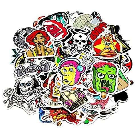Nuoxinus Car Stickers [200pcs], Laptop Stickers Skateboard Luggage Bike Motorcycle Bumper Stickers, Snowboarding Guitar Helmet Phone Graffiti Decals, Fashion Cool Unique Mix Lot Random (Decal Stickers Guitar)