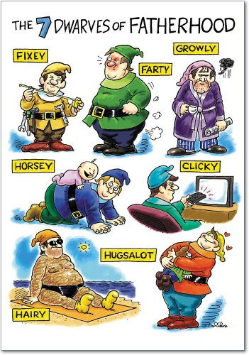 "0302 'FD DWARVES' - Funny Father's Day Greeting Card with 5"" x 7"" Envelope by NobleWorks"