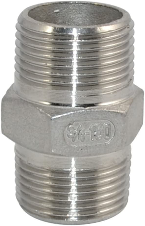 BLUEXIN 3//4 Male x 3//4 Male Hex Nipple Stainless Steel 304 Threaded Pipe Fitting NPT