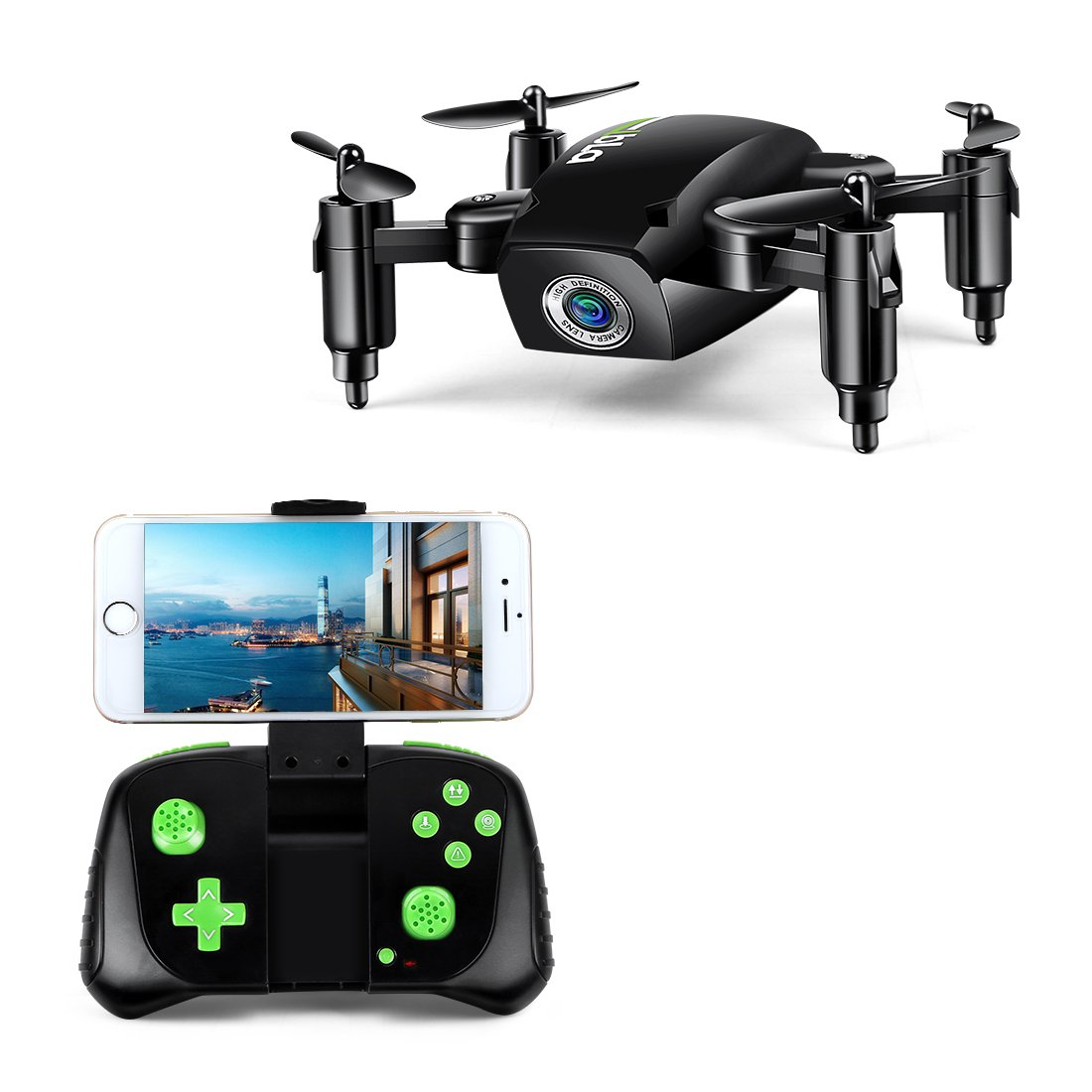 LBLA Mini Foldable RC Drone, FPV 2.4Ghz 6-Axis Gyro Altitude Hold RC Quadcopter HD WiFi Camera