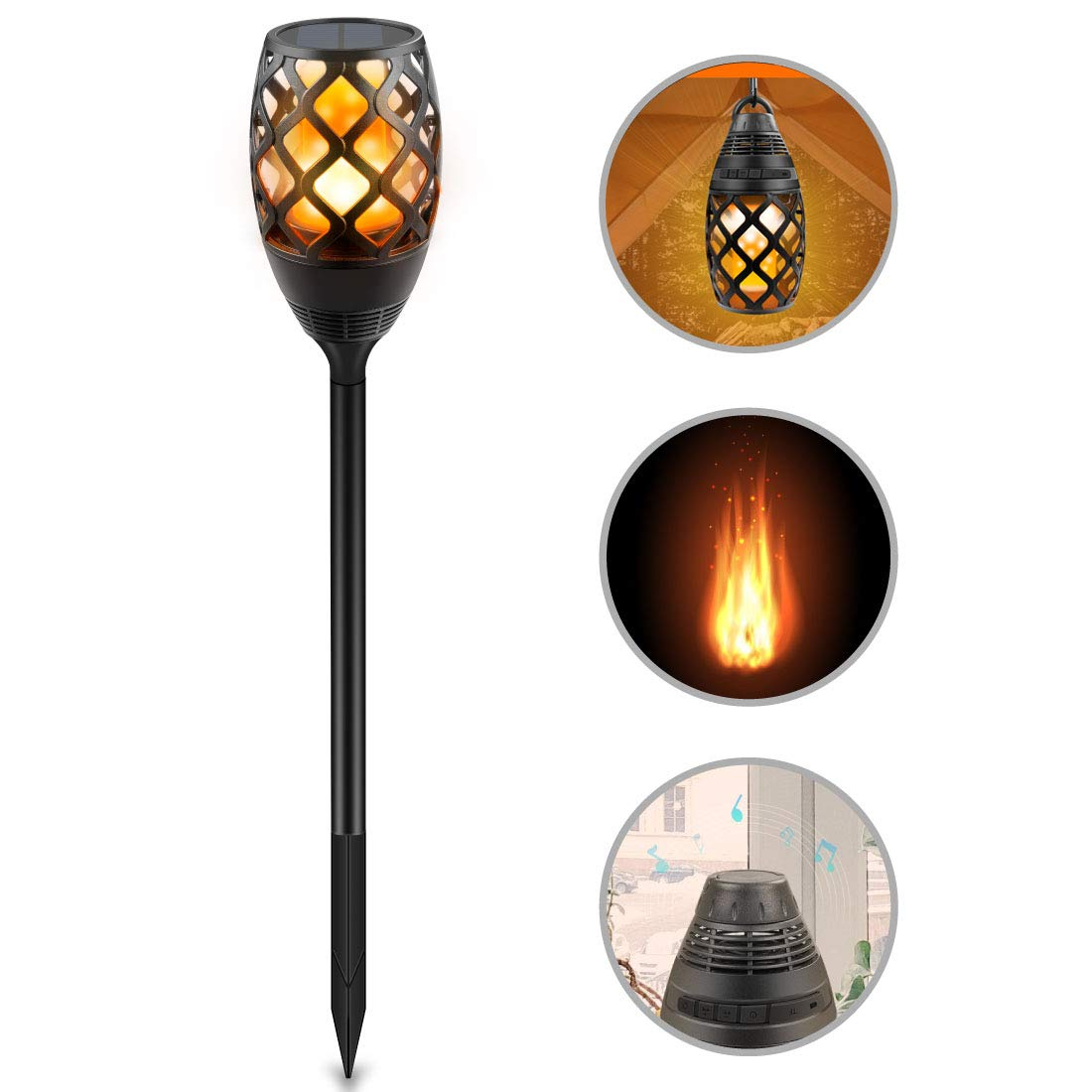 Solar Torch Lights, Soxono Flame Lamp Built-in Portable Bluetooth Speaker Solar LED Flickering Garden Camping Lights Outdoor HD Audio Waterproof Compatible iOS/iPad/Android Samsung