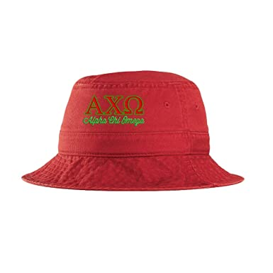 e18a9b8c2f6e7 Alpha Chi Omega Script Bucket Hat Red at Amazon Women's Clothing store: