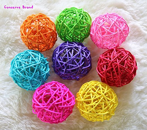 Big Multi-Colored Balls, Wicker Ball Colorful Tones, DIY Vase and Bowl Filler Ornament, Decorative Spheres Bright Colors Mix, Perfect for Decoration On Any Occasion 3-3.5 inch 8 Pcs. (Rattan Diy Lights Ball)