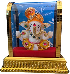 Ganesha Statue in Glass, Big Pheta Ganesha Idols for Home and Office and Car Decor