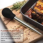 Kaycrown Stainless Steel Turkey Baster With BBQ/Grill Basting Brush, Commercial Grade Quality FDA Rubber Bulb Including Flavor Needle And Cleaning Brush For Easy Clean Up 15 FOOD SAFETY MATERIAL: Both of the Turkey baster and basting brush are made of food grade stainless steel, it won't melt, won't bend, and will last for many years to come. Bristles are made of FDA & BPA-FREE Silicone ( high heat resistant to 450°F/230°C ). BASTING BRUSH: Included an extra long basting brush, to get those juices into every crack and crevice of your succulent roast meats, for a more even distribution of flavor. The bristles will not melt, break or shed into your food! Picking bristles from your food will be a thing of the past! Stainless steel injector needle and cleaning brush included, Add more punch to your meat creations with our flavor injector. Simply screw onto the baster to transform it into a super handy marinade and sauce injector. Add an explosion of flavor to every bite!