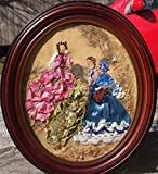 Ribbon & Stumpwork Embroidery of Victorian Ladies Fashion Copied on Fabric From La Mode IIlustree1880 in Antique Wood Oval Frame 14 '' X 12 ''