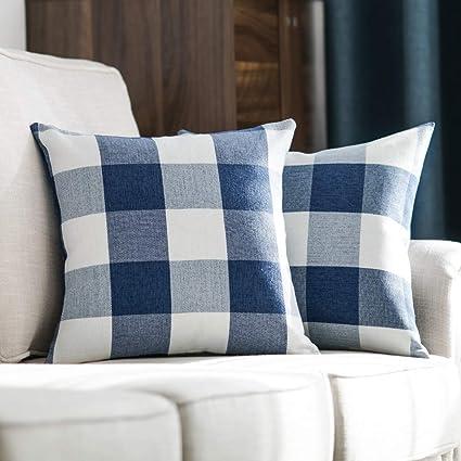 MIULEE Pack of 2 Decorative Classic Retro Checkers Plaids Throw Pillow Covers Cotton Linen Soft Soild Pillow Case Dark Blue Cushion Case for Sofa ...