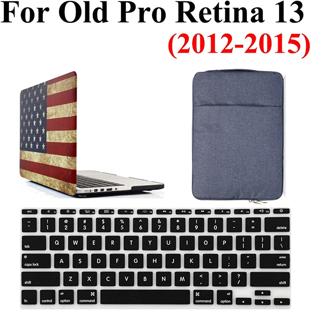 Old Macbook Pro 13 Inch Retina Case & Bag 3 in 1 Bundle, iZi Way USA Flag Case with Blue Denim Carrying Handbag Sleeve, Black Keyboard Cover for Mac Pro 13.3 (NO CD ROM) A1502 / A1425 (2012-2015)