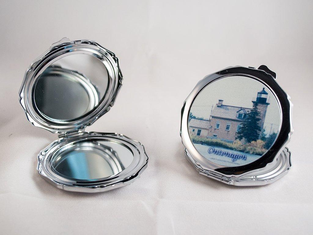 Compact Mirror, Ontonagon Michigan Lighthouse Design