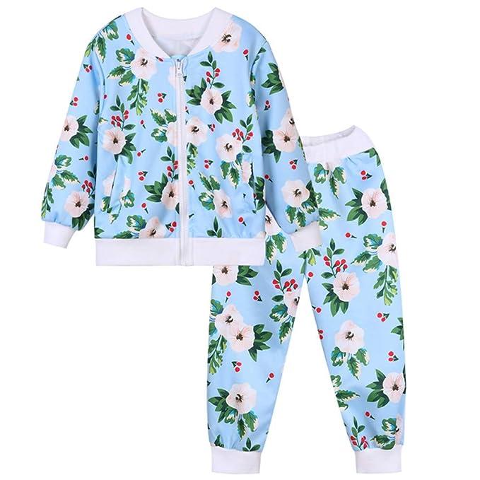 Conjuntos Deportivos para Unisex Niñas Niños Otoño Invierno 2018 Moda PAOLIAN Chaqueta + Pantalones Estampado Floral