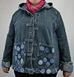 Hooded Denim Jacket XL with Circle Applique made from post consumer jeans