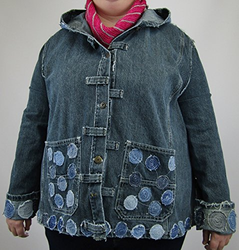 Hooded Denim Jacket XL with Circle Applique made from post consumer jeans by Recycled Seams