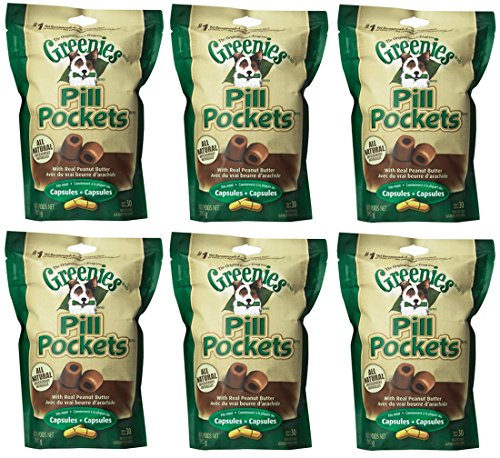Greenies Canine Pill Pockets Peanut Butter Capsule 30/pk. 6 Pack Bundle