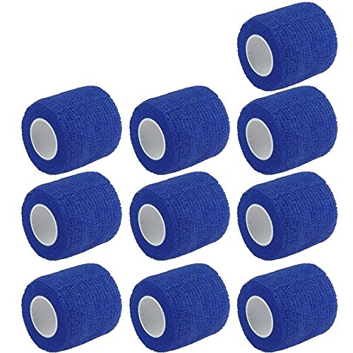 ESUPPORT 2 Inches X 5 Yards Self Adherent Cohesive Wrap Bandages Strong Elastic First Aid Tape for Wrist Ankle Blue Pack of 10 ()