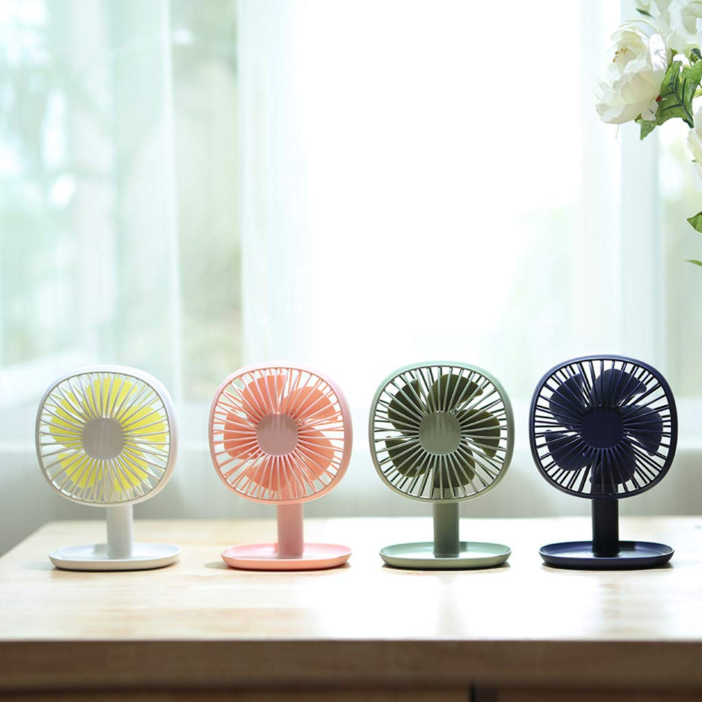 Sillor Small Appliances,USB Fan Creative Tone Angle Simple Three-Gear Big Wind Mute Desktop Fan,White//Pink//Blue//Green Blue