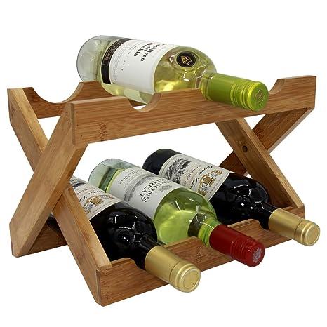 G-LEAF Bamboo Wine Rack Foldable Countertop Wine Rack 6-bottles