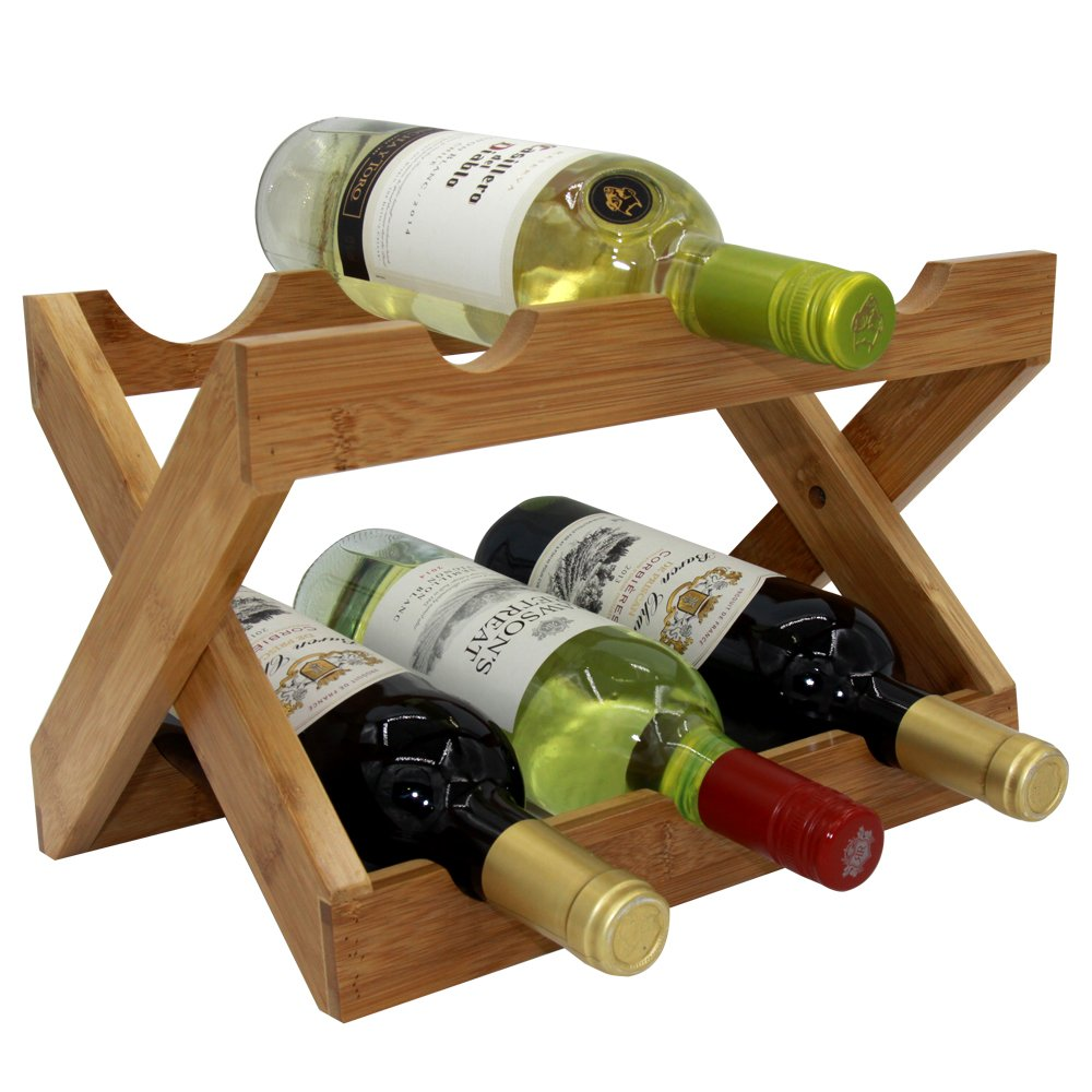 Autree Natural Bamboo Foldable Countertop Wine Rack 6-bottles No Assembly Required