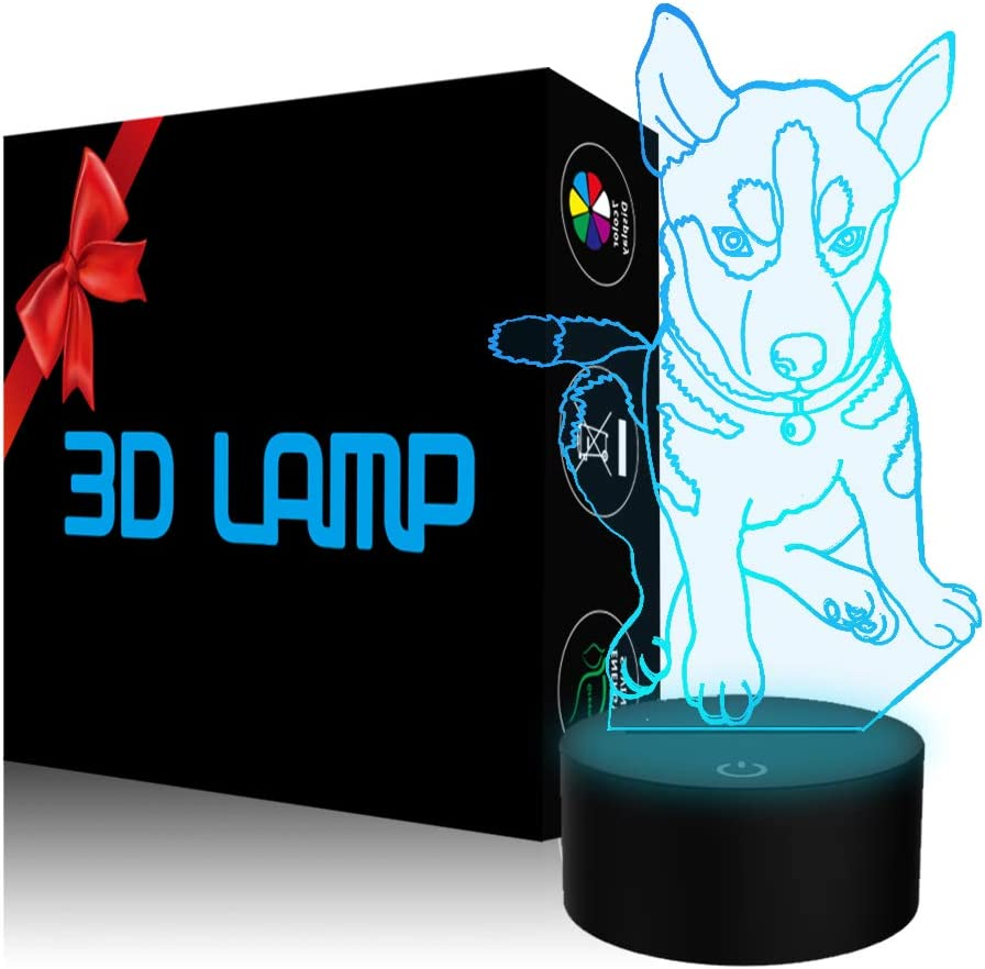 Animal Dog Husky 3D Illusion Night Light, YKLWORLD LED Huskie Table Desk Lamp 7 Color Changing Touch Control USB Powered Christmas Toys Birthday Gifts for Kids Boys Girls Dog Lovers