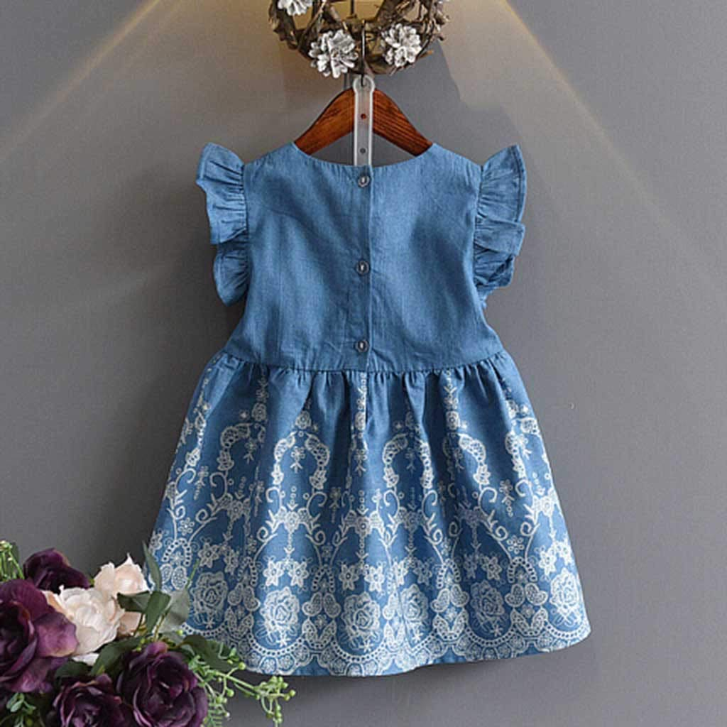 Challeng Enfant en Bas /âGe Enfants B/éB/é Filles V/êTements Broderie Denim Party Pageant Robe De Princesse