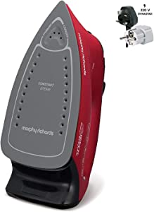 Morphy Richards 220v Iron 2600 watts with Steam & Auto Shut Off 220 – 240 Volts 50/60 hz Bundle with Dynastar Plug Adapter (NOT for USA)