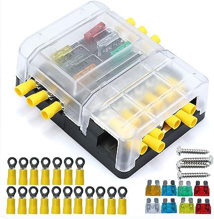 6 circuitos LED Fusible Bloque Fusible Caja DC 32 V MAX Cuchilla ...