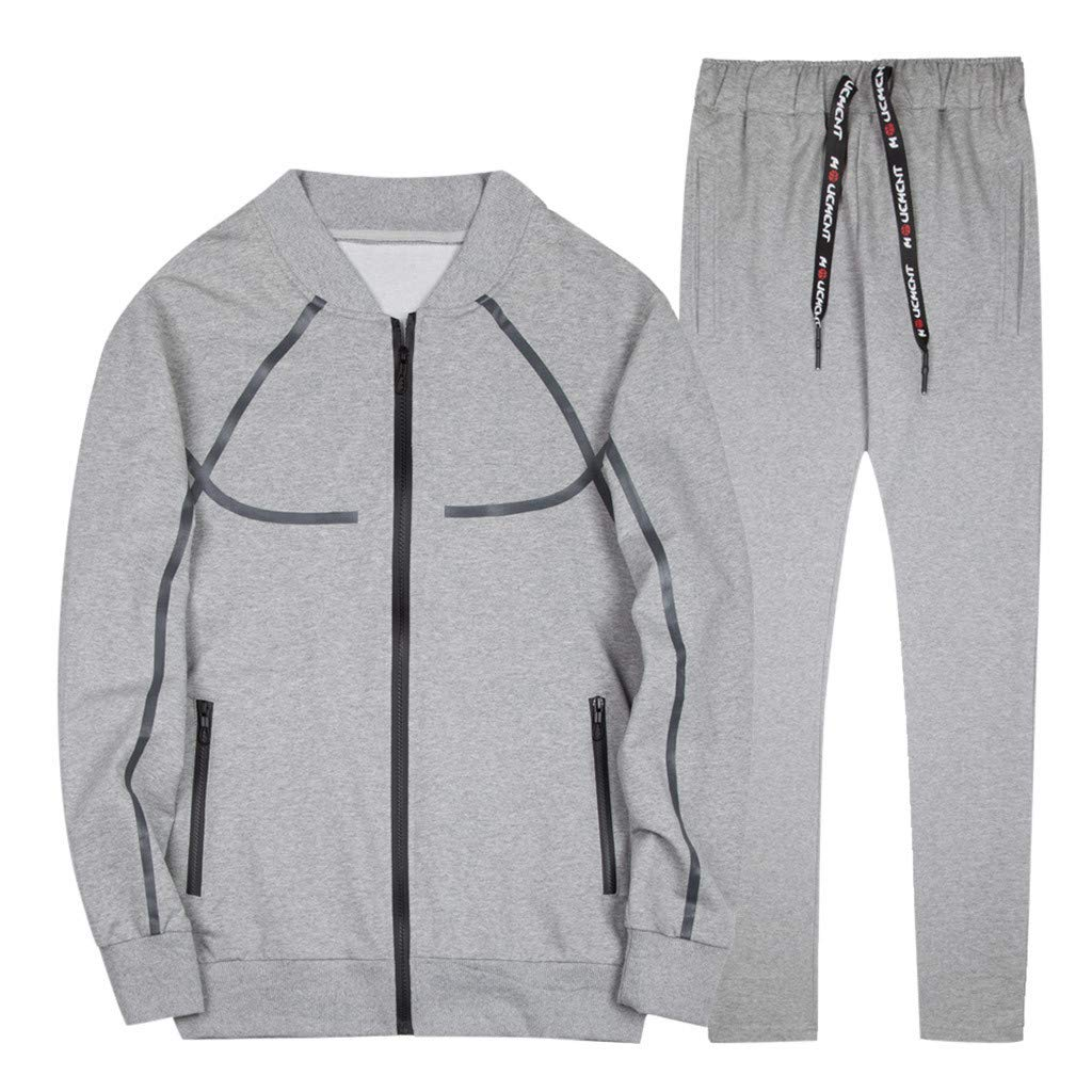 NEW Men Tracksuit Gym Tops Pants Set Suit Tee Trousers Spring Casual Male Shirt