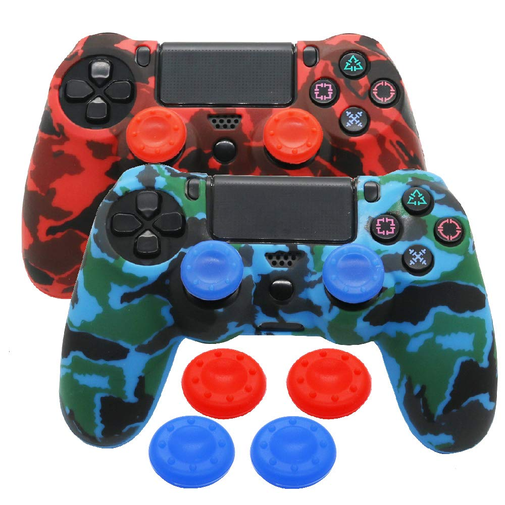 Silicone PS4 Controller Skin - YTTL Studded Anti-Slip Silicone Skin Protector Cover Case for PS4 PS 4 Slim PS4 Pro Dualshock 4 Controller with 2 Pairs of Matching Thumb Grips