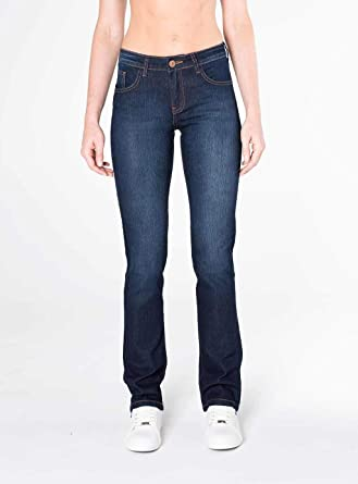 67caf5719 Calça Jeans Reta cintura intermediária azul escuro: Amazon.com.br ...