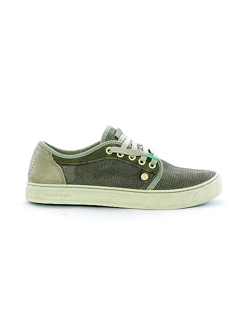 SATORISAN 181004 Heisei Gris tormentoso Zapatillas de Deporte de Cuero del Hombre Cordones de Zapatos 46: Amazon.es: Zapatos y complementos