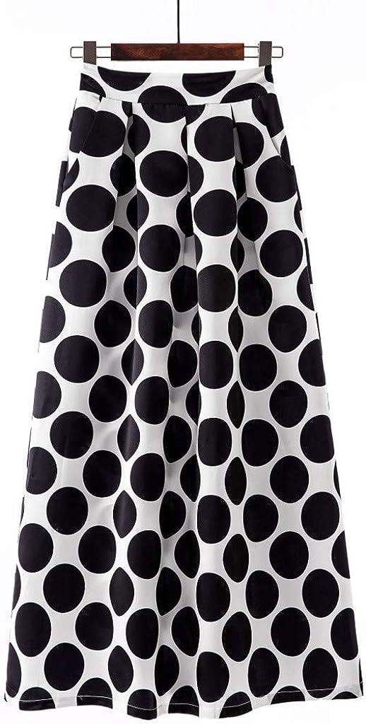 Fashion Party Cocktail Summer Womens Dot Printed Skirt High Waist Long Skirt