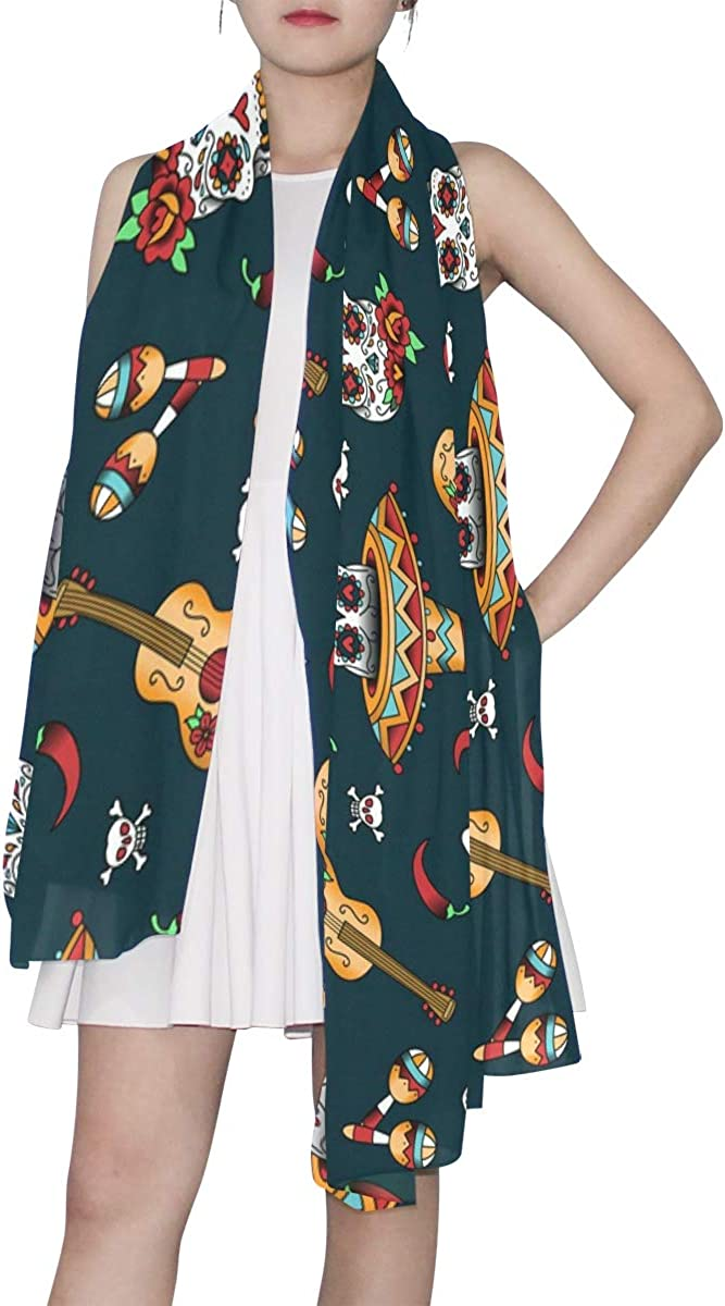 EELa Long Shawl for Women Mexican Skulls Printed Wrap 70x35 inches