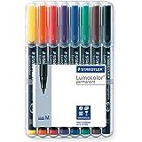 Staedtler Lumocolor 317 WP8 Universalstift, permanent, schnelltrocknend, wisch- und wasserfest, nachfüllbar, Strichbreite M - Medium, 8 farblich sortierte Universalstifte in aufstellbarer Staedtler Box