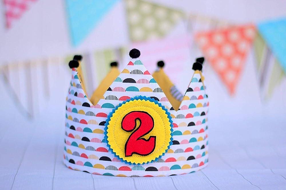 Corona de tela para cumpleaños infantil, corona de tela ...