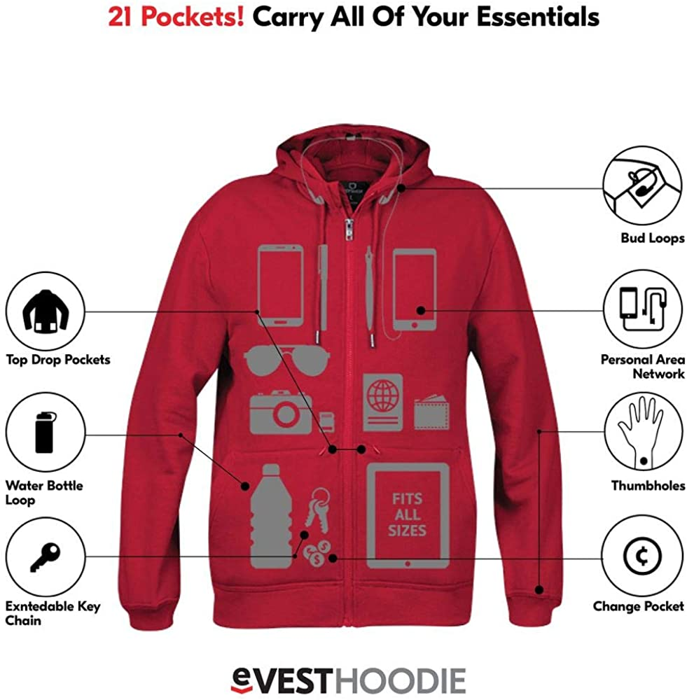 Hoodie Cotton - Sweatshirts for Men with Pockets - Travel Clothing
