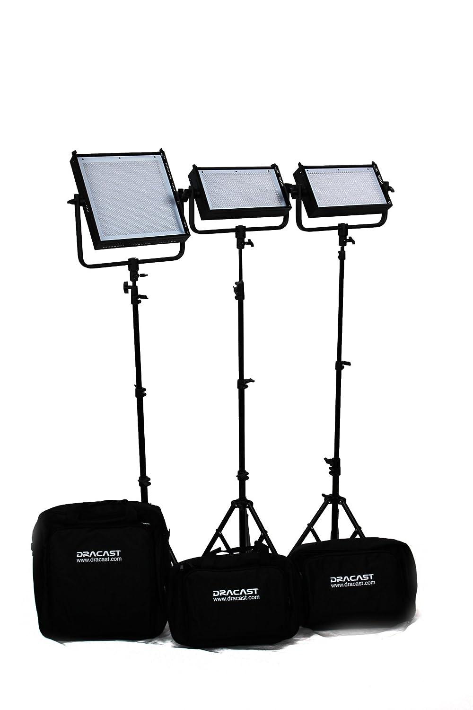 Dracast DR-LK-2x500-1x1000-DFG Pro 2 X LED500と1 LED1000キット、デイライトフラッド、ゴールドマウントバッテリープレート付き(ブラック)   B00IEF1NTA