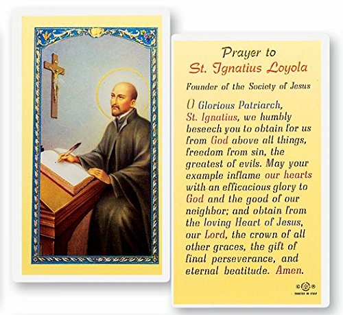 Gifts by Lulee, LLC Saint Ignatius of Loyola Franciscan Priest Founder of The Jesuits Blessed Laminated Italian Holy Card with Gold Accents