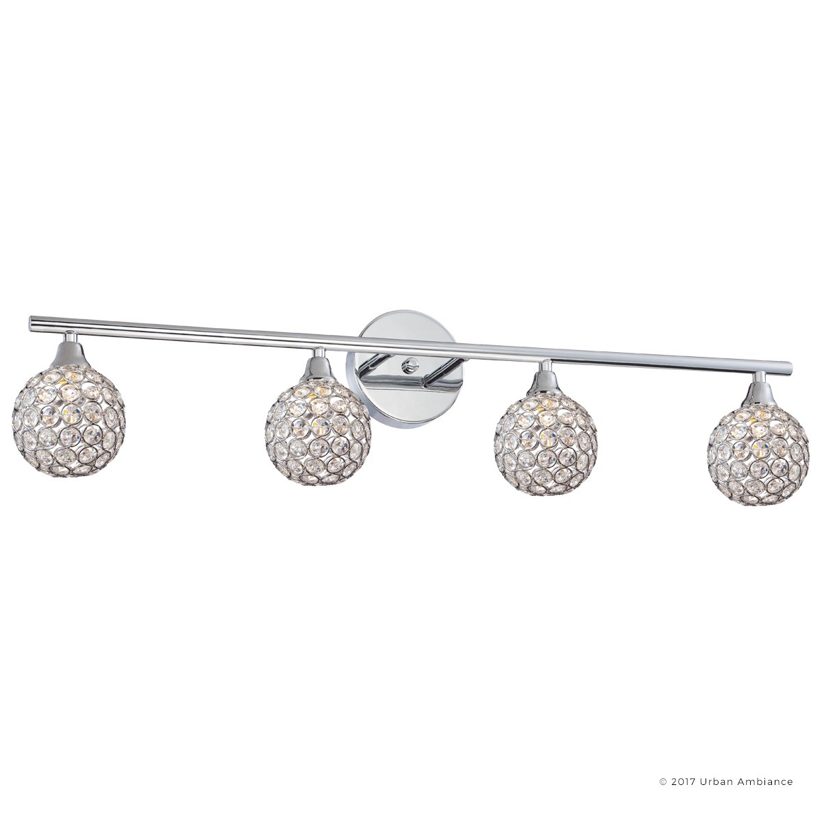 Luxury Crystal Globe LED Bathroom Vanity Light, Large Size: 8''H x 32.5''W, with Modern Style Elements, Polished Chrome Finish and Crystal Studded Shades, G9 LED Technology, UQL2632 by Urban Ambiance by Urban Ambiance