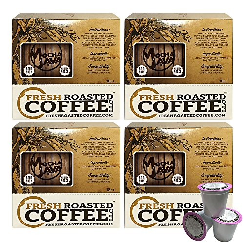 Mocha Java Single-Serve Coffee Pods, 72 Capsules for Keurig K-Cup Brewers, Fresh Roasted Coffee LLC. (72 Count)