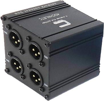 Pasivo 4 Canales XLR Macho a Ethercon Stage Box Snake Runs XLR/AES/DMX Señales de Audio sobre un Solo Cable Ethernet Cat | Portátil, Compacto Comodidad para Live Stage y Estudio de grabación: