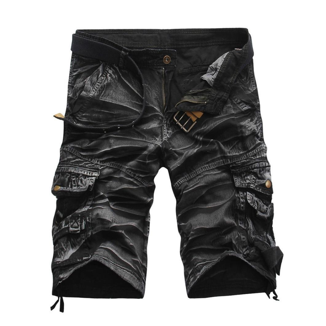 PASATO Clearance!Fashion Mens Casual Pocket Beach Work Casual Short Trouser Shorts, Crease Printing Pants(Gray, 38)