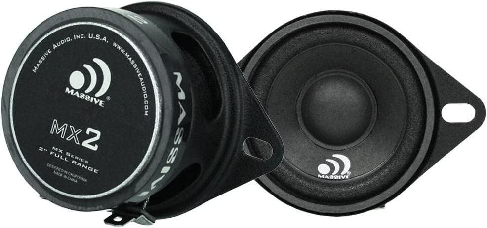 "Massive Audio MX2-2"" 20-Watt Full Range Speakers. 2 Inch Full Range Speakers to Upgrade Front Dash Staging for Chrysler, Toyota, and Various DJ and Home Audio Projects. Sold in Pairs"