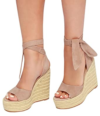 3c771578596 Pxmoda Womens Peep Toe Lace Up Espadrille Wedge Sandals Summer Strappy  Gladiator Platform Sandals