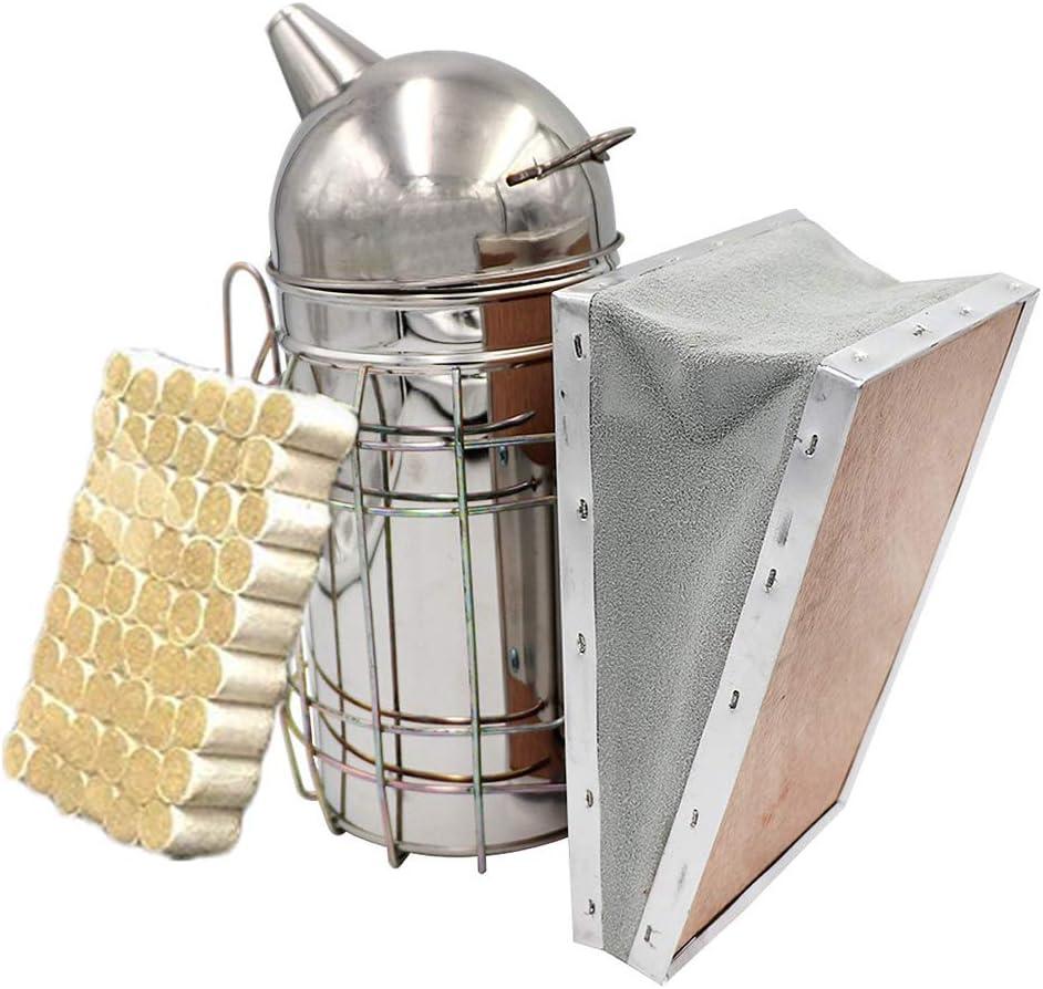 Rhww Fumador De Abejas para Apicultura Y Abeja Fumador Combustible, Pesado Deber Acero Inoxidable con Calor Proteger Y Metal Gancho